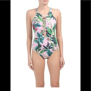 Miraclesuit High Neck Floral One-Piece Swi…